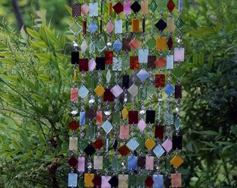 Fleurs sauvages  Unique Wind Chimes - Suncatcher - Stained Glass - Wind Chime - Colored Glass - One Of A Kind