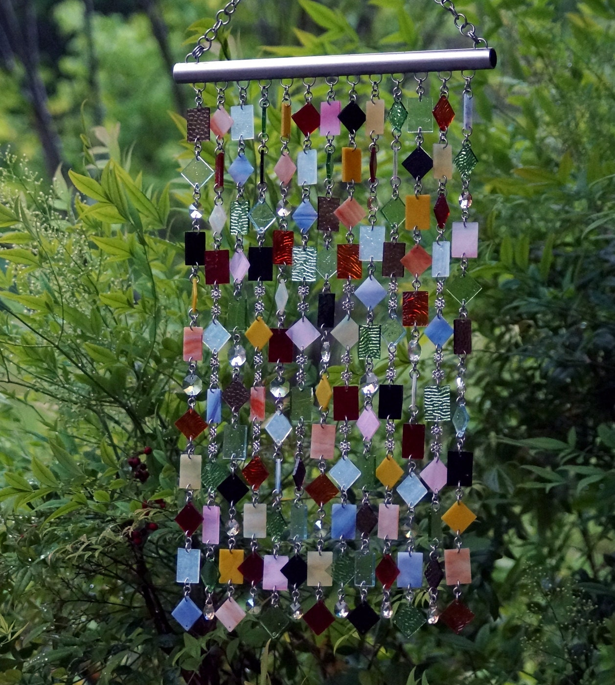 fleurs sauvages unique wind chimes suncatcher stained. Black Bedroom Furniture Sets. Home Design Ideas