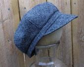NEWSBOY wool hat - Adult - Unisex - photography prop - newsboy cap - flat cap - vintage - black grey plaid