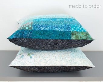 Quilted Pillow Shams Euro Size Pillow Shams Modern Pillow Shams Quilted Bed Pillows Quilted Pillow Covers Turquoise Pillow Shams Aqua Pillow