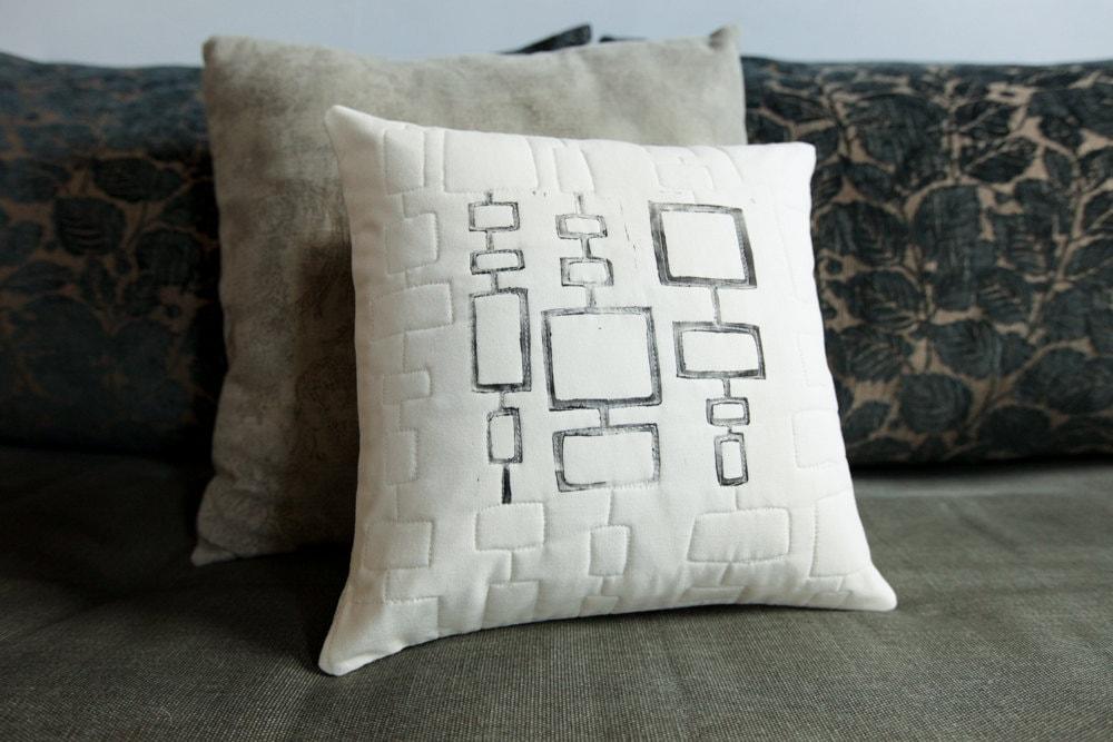 Quilted and Handprinted Modern Pillow 12x12 Toss Pillow