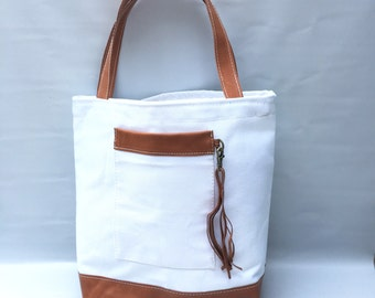NEW - Camino tote bag white canvas/ leather