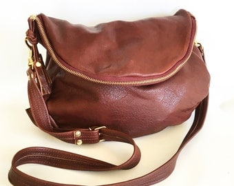 Alberta leather bag in cognac veg tanned cow hide