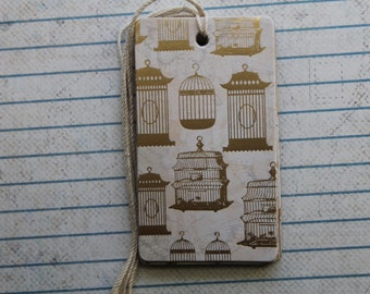 26 Gold birdcage gift tags patterned paper over chipboard