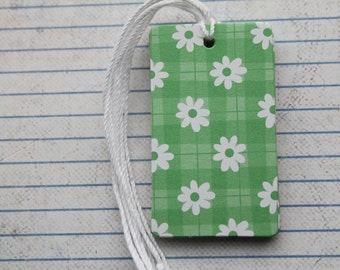 26 gift tags green plaid white daisy flower patterned paper over chipboard