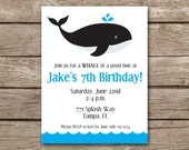 PRINTABLE Whale Invitation, Whale Party Invitation, Whale Birthday Invitation, Whale Baby Shower Invitation, Pool Party Invitation