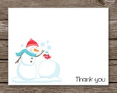 Snowman Note Cards - Snowman Notecards - Snowman Card - Winter - Bird - Holidays - Thank You - Stationery - Stationary - Set of 8