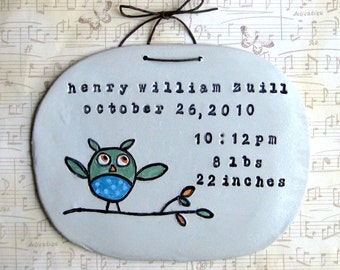 Birth Info- Owl Wall Hanging