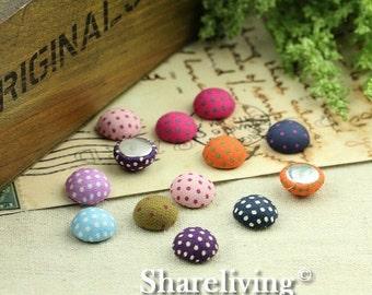 30% OFF SALE - 20pcs 15mm Handmade Mixed Dot Fabric Button Cabochons   -- FBM001