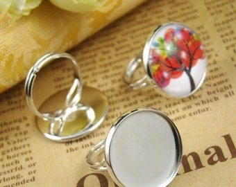 20% OFF SALE - 10PCS Silver Ring With 20Mm Round Base Setting Ri437