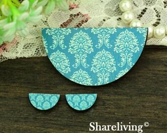 Vintage Turquoise Flower Semicircle Wood Charm, Wood Cut Cabochon, Wood Print Set - HWC851E