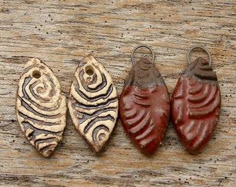 RUSTIC EARRING PAIRS - 2 Handmade Ceramic Earring Pairs- 4 bead dangles