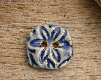 FLOWER BUTTON - 1 Handmade Ceramic Two Hole Button