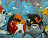 Fish 40 12x24 inch original fish goldfishkoi oil painting by Roz