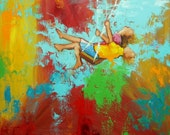 Swing painting 162 24x24 inch portrait original oil painting by Roz