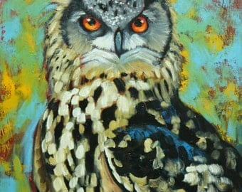 Owl painting 119 18x24 inch original oil painting by Roz