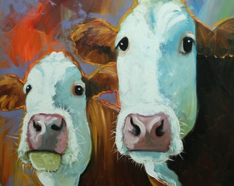 Cows painting animals 519  30x30 inch original portrait oil painting by Roz