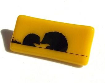 Hedgehog Brooch Glass Custom Enamel Screen Printed Colours