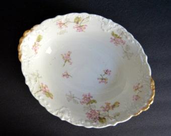 Oval Haviland Limoges Bowl- MADE IN FRANCE - Antique Fine China Serving Dish Vegetable Casserole Bowl Pink Floral Design with Gold 1900s