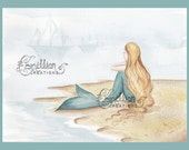 Passing By Mermaid & Ships Print from Original Watercolor Painting by Camille Grimshaw