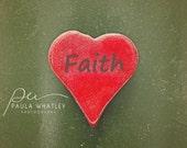 faith photo, faith print, wedding gift, red heart art, valentines art, heart art, Love heart, Valentines Day art, heart photo, heart print