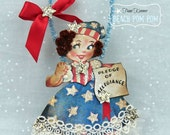 Patriotic 4th of July Vintage inspired PLEDGE OF ALLEGIANCE decoration/ornament