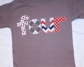 Boys lowercase FOUR shirt for 4th Birthday  - Size 4 long sleeve solid gray - chevron, polkadots, red orange navy gray