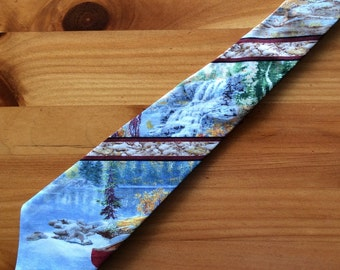 SALE Red Canoe and Camping Necktie with Free Gift Box, Canoe Tie, Canoe Necktie