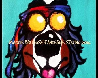 bernese mountain dog berner bmd hippie dog mini canvas 4x4 x1 thick edge 60's dog  maggie brudos painting Original whimsical DOG art