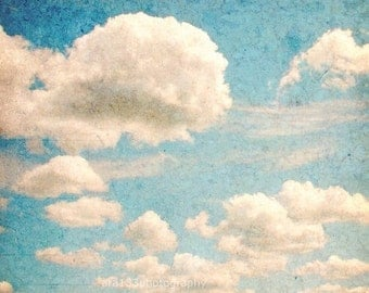 40% OFF SALE Blue Home Decor Nature Photography Cloud Art Whimsical Photograph Sky Photo Fine Art 5x5 Inch Photography Print Whimsy