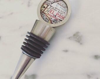 Fort Bliss Map Wine Stopper - Vintage Map Bottle Stopper - Custom Handmade - Great Wedding Gift - Wine Cork - El Paso - Texas - Military