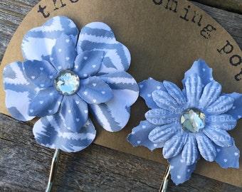 Smokey Blue Flower Bobby Pins