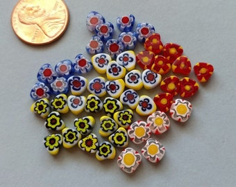 50 SMALL Millefiori Heart Shaped 5mm by 5mm Glass Beads Mix