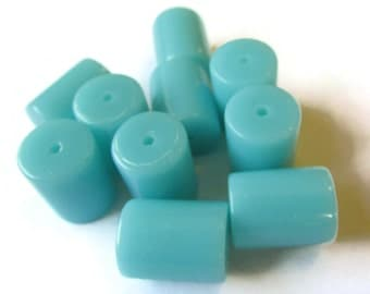 Qty 11 13mm x 10mm Arctic Blue Tube Beads Vintage Lucite Beads New Old Stock Beads Plastic Beads