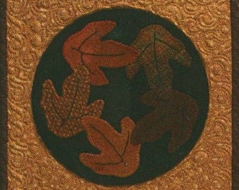 Primitive Folk Art Wool Applique Pattern - Candle Mats thru the Year - Novmber - Autumn Leaves