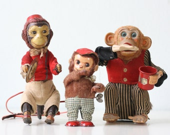 Vintage Monkey Toys, Set of 3