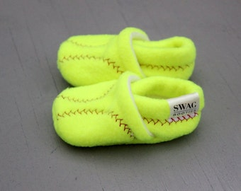 Baby Shoes Boy Girl SOFTBALL Booties Toddler Infant Newborn Slippers Red White Soft Ball Sports Non Slip Soft Soled SWAG