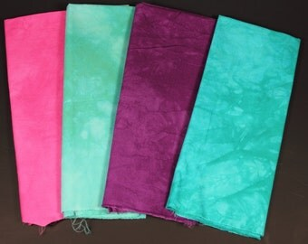 hand dyed fabric - 4 fat quarters - combo #4