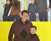 Sewing Pattern Simplicity 5741 Boys' and Men's Shirts Vest Scarf Hat Sm to XL Uncut Complete