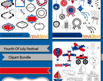 Fourth of July Festival clipart bundle sale - America July 4th Independence day clipart - red blue - instant download