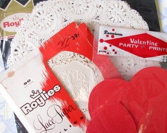 Artsy Supply..Cute Vintage Paper Doilies & Red Hearts