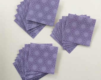 Mini Cards 24 purple floral - blank for thank you notes 3 x 3