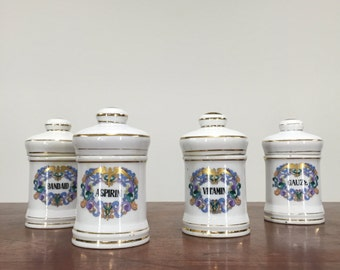 1950s Porcelain Apothecary Jars