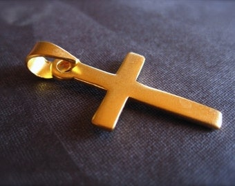 Double Plated Gold Cross Pendant - simple
