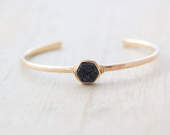 Druzy Gold Cuff , Black Hexagon Gemstone Stacking Bracelet , Hammered Wire Bezel Wrapped in Gold or Silver , Gifts for Her - Eclipse