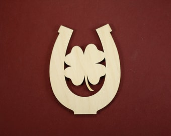 Double Luck Good Luck Charm Shape Unfinished Wood Laser Cut Shapes Crafts Variety of Sizes
