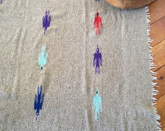 Vintage Handwoven Native Rug / Blanket, Multi Color Birds, On Sale