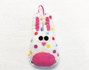 Rabbit Ornament, Bunny Ornament, Christmas, Sprinkle the Bunny, Easter, Polka dots