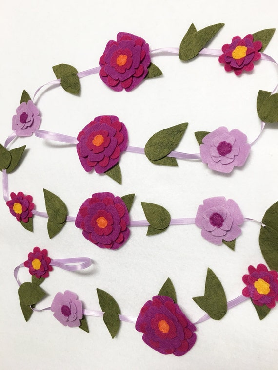 Flower Garland, Purple Bloom, Felt Flower Garland, Made to Order, Room Decoration, Nursery Decor, Wedding, Party Decoration