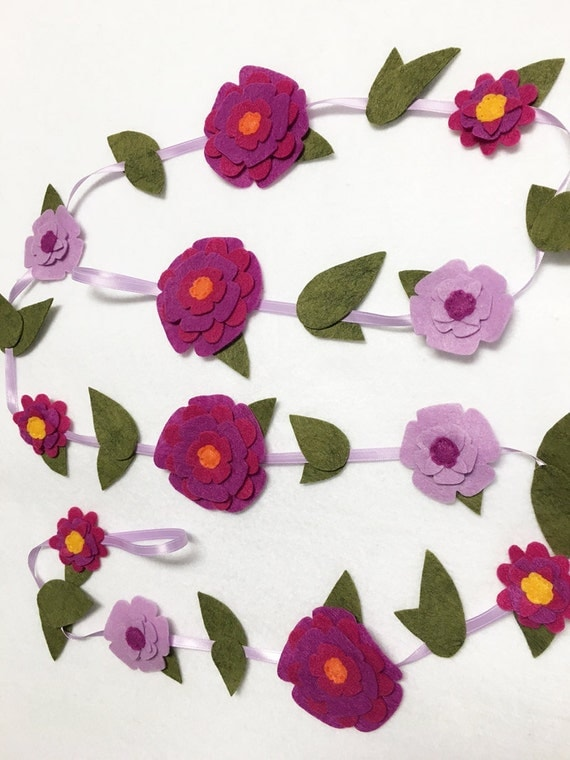 Flower Garland, Purple Bloom, Felt Flower Garland, Made to Order, Floral Garland, Nursery Decor, Wedding and Party Decoration